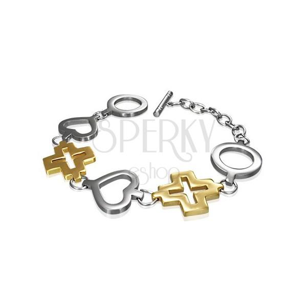 Stalowa bransoletka koło, serce oraz złoty krzyż