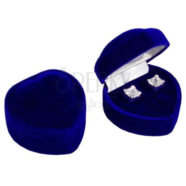 Pudełeczko na kolczyki - ciemnoniebieskie aksamitne serce