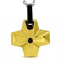 Stalowa zawieszka - szeroki krzyż złotego koloru z czarnym oczkiem pośrodku