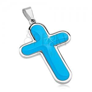 Zawieszka ze stali chirurgicznej, duży krzyż z niebieskim emaliowanym wnętrzem