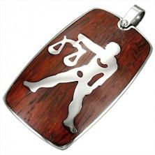 Stalowa zawieszka z drewnianym tłem - znak zodiaku Waga