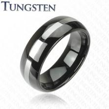 Czarna wolframowa obrączka ze srebrnym pasem, 6 mm