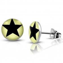 Stalowe kolczyki -  jasnożółte koła z czarną gwiazdką, wkręty
