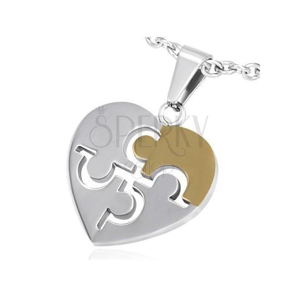 Stalowa Zawieszka Serce Z Grecką Literą Omega Biżuteria Eshop