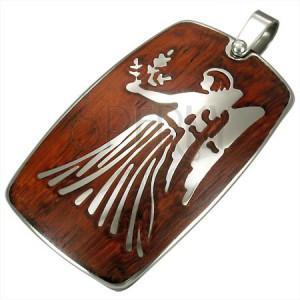 Stalowa zawieszka z drewnianym tłem - znak zodiaku Panna