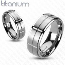Tytanowy pierścionek z matowymi prostokątami