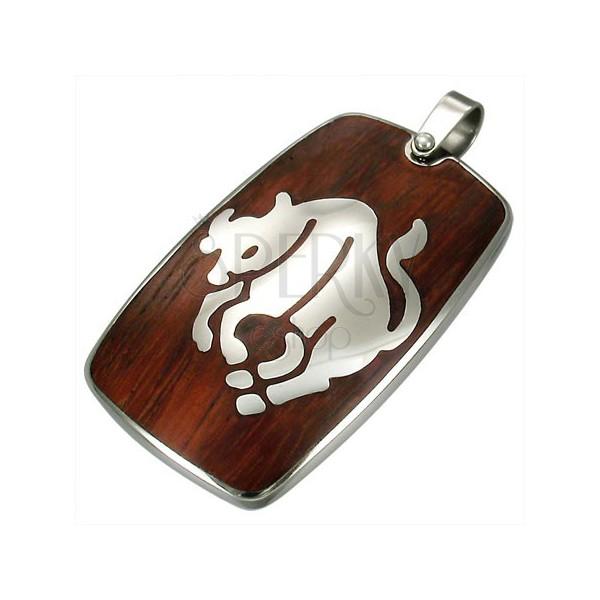 Stalowy wisiorek z drewnianym tłem - znak Zodiaku Byk