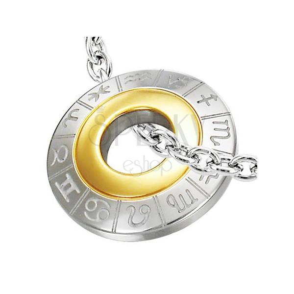 Zawieszka ze stali chirurgicznej, znaki zodiaku, srebrny i złoty kolor