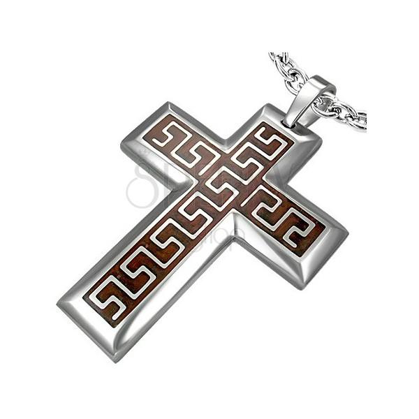 Zawieszka ze stali chirurgicznej krzyż z brązowym tłem i azteckim wzorem