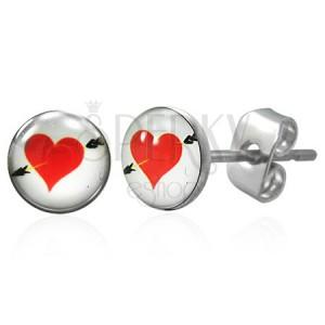 Kolczyki ze stali chirurgicznej, czerwone serce ze strzałą