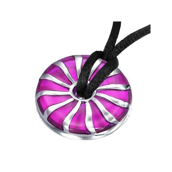 Zawieszka ze stali spirala fioletowe kółko z otworem na środku