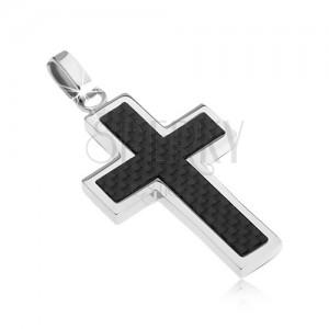 Stalowy krzyż - ozdoba ze wzorem włókna węglowego