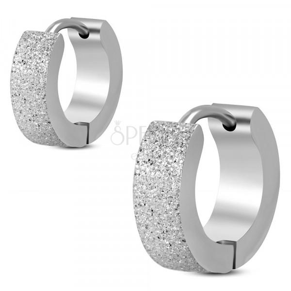 Piaskowane kolczyki ze stali chirurgicznej, srebrne