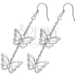 Kolczyki ze stali chirurgicznej - powycinane motyle na łańcuszku, bigle