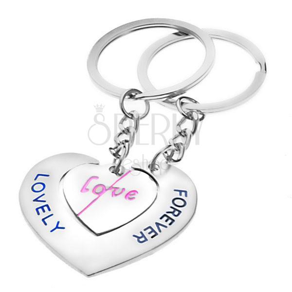 Breloczki na klucze dla zakochanych - serca z napisami LOVE i LOVELY FOREVER