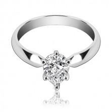 Pierścionek zaręczynowy ze srebra 925 – cyrkonia w kształcie łezki