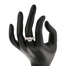 Srebrny pierścionek 925 z cyrkonią i cyrkoniowymi pasami
