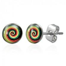 Kolczyki ze stali chirurgicznej z kolorową spiralą, wkręty
