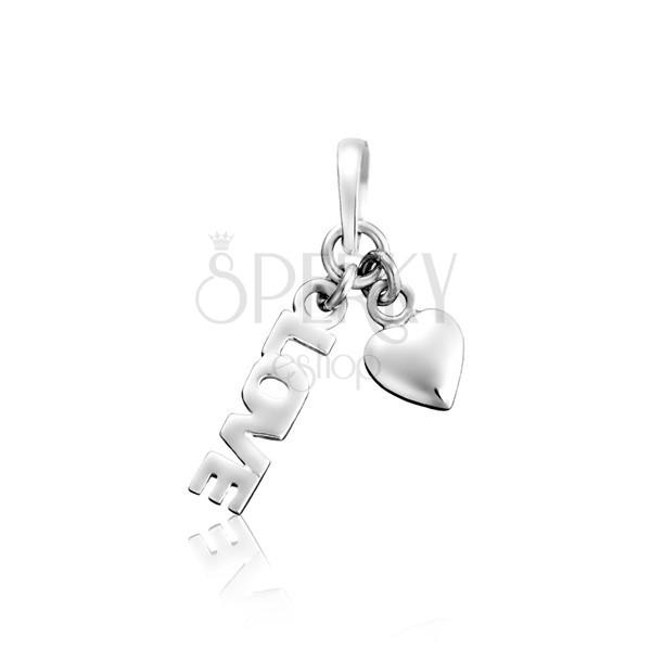 Wisiorek ze srebra 925 - LOVE z serduszkiem