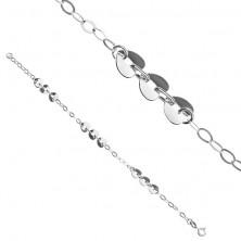 Srebrna bransoletka 925 - trzy serca i owalne oczka