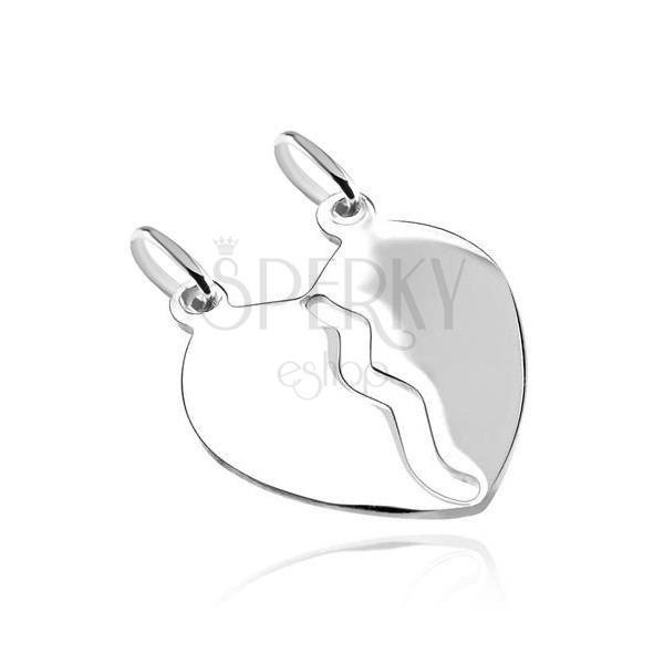 Wisiorek ze srebra 925 - gładkie przełamane serce, lśniący lustrzany połysk