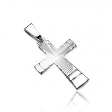 Wisiorek ze srebra 925 - krzyż ze stożkowatym szlifem i łuczkami
