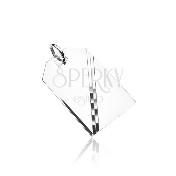 Srebrna zawieszka 925 - lśniąca tabliczka, lustrzana powierzchnia, z ukośną linią