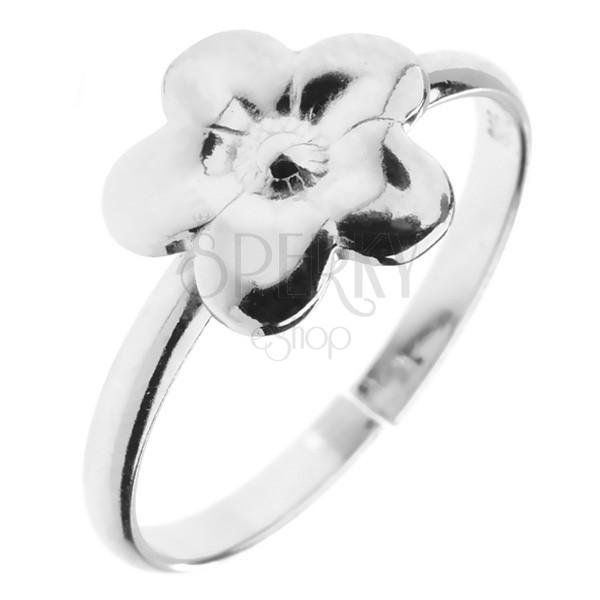 Pierścionek ze srebra 925 - kwiatek z grawerem, regulowany