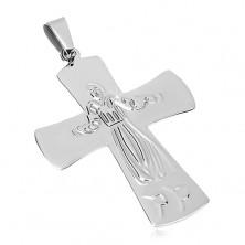 Zawieszka ze stali chirurgicznej Jezus na krzyżu, srebrny kolor
