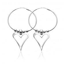 Kolczyki ze srebra 925 - kółka z kulkami i asymetrycznym sercem