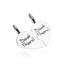 Srebrny wisiorek 925 dla pary - przepołowione serce Best friends