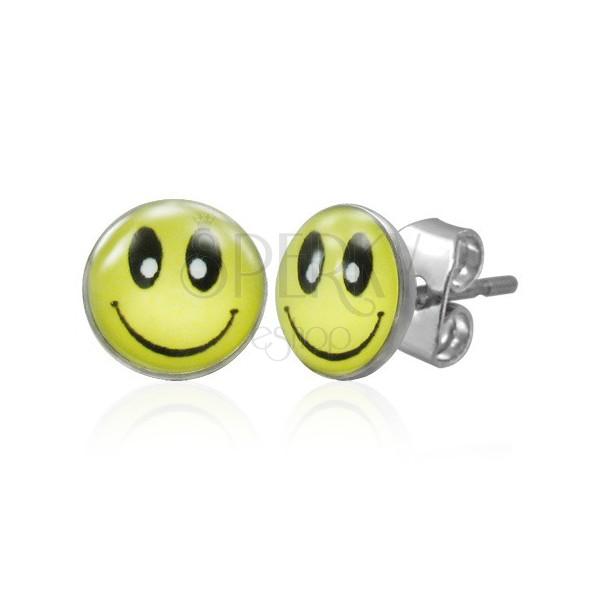 Stalowe kolczyki z zapięciem na sztyft, żółty uśmiech