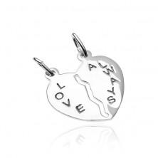 Zawieszka dla dwojga ze srebra 925 - łamane serce z napisem Love Always