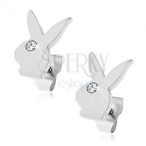 Kolczyki ze stali chirurgicznej - głowa zajączka Playboy, bezbarwna cyrkonia