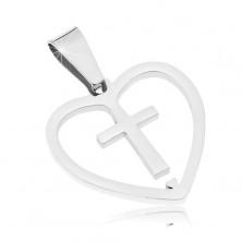 Zawieszka ze stali chirurgicznej srebrnego koloru, rzeźbione serce z krzyżem