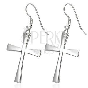 Kolczyki ze stali chirurgicznej z krzyżem, srebrny kolor, bigle