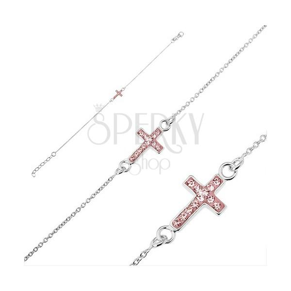 Srebrna bransoletka 925 - krzyżyk z różowami cyrkoniami
