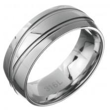 Stalowy pierścionek - obrączka z dwiema podwójnymi liniami