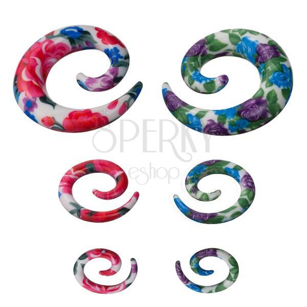 Spirala do ucha - kolorowy kwiatowy wzór