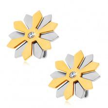 Stalowe kolczyki - kwiatek z płatkami złotego i srebrnego koloru z cyrkonią