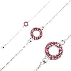 Srebrna bransoletka 925 - łańcuszek z kółeczkiem z różowymi cyrkoniami