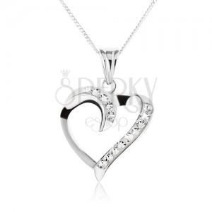 Naszyjnik ze srebra 925 - zaokrąglony kształt serca z cyrkoniami
