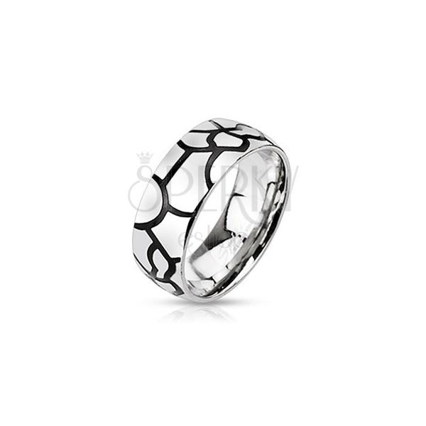 Stalowy pierścionek - imitacja czarnych pęknięć