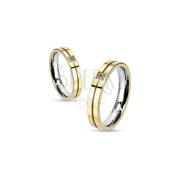 Pierścionek ze stali - złoto-srebrna kombinacja z cyrkonią