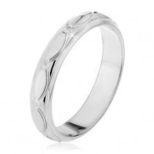 Srebrny pierścionek 925 - owalne nacięcia i ziarenka, małe stożki