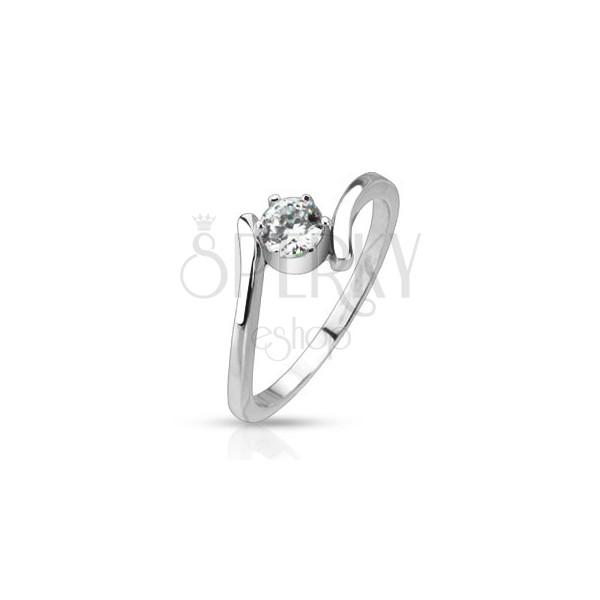 Stalowy pierścionek - wygięte ramiona okrągła, przeźroczysta cyrkonia