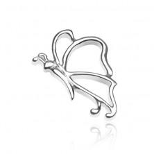 Zawieszka za srebra 925 - lśniący motylek z czułkami