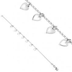 Srebrna bransoletka 925 - łańcuszek z sześcioma serduszkami