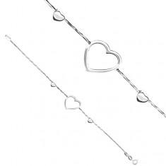 Bransoletka ze srebra 925 - kontur serca na łańcuszku wężyku
