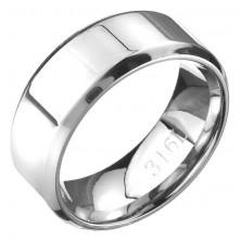 Pierścionek ze stali - lśniąca srebrna obrączka ścięte krawędzie